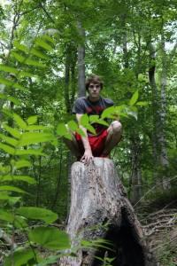 062514 Trent on top of stump-2